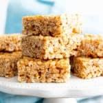 3 Ingredient Healthy Vegan Rice Crispy Treats (V, GF): a chewy homemade vegan rice krispy treats recipe, made with whole, gluten-free, protein-rich ingredients. #RiceCrispyTreats #ProteinPacked #Vegan #GlutenFree #CleanEating #Snacks #HealthySnacks | Recipe at BeamingBaker.com