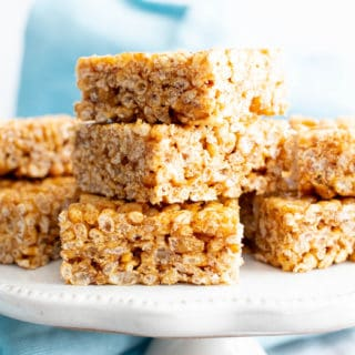 3 Ingredient Healthy Vegan Rice Crispy Treats (V, GF): a chewy homemade vegan rice krispy treats recipe, made with whole, gluten-free, protein-rich ingredients. #RiceCrispyTreats #ProteinPacked #Vegan #GlutenFree #CleanEating #Snacks #HealthySnacks | Recipe at BeamingBaker.com
