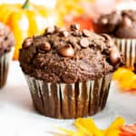 Easy Gluten Free Chocolate Pumpkin Muffins (V, GF): a one bowl recipe for moist, fudgy chocolate pumpkin muffins packed with rich fall flavors! Made with healthy, whole ingredients. #Vegan #GlutenFree #Muffins #Pumpkin #Fall #Chocolate #CleanEating | Recipe at BeamingBaker.com