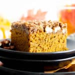 Easy Gluten Free Vegan Pumpkin Coffee Cake Recipe (V, GF): a thick layer of moist pumpkin coffee cake with a cinnamon sweet, buttery-rich topping. Made with healthy, whole ingredients. #Vegan #GlutenFree #CoffeeCake #Pumpkin #VeganBaking #CleanEating #Fall #PumpkinSpice | Recipe at BeamingBaker.com
