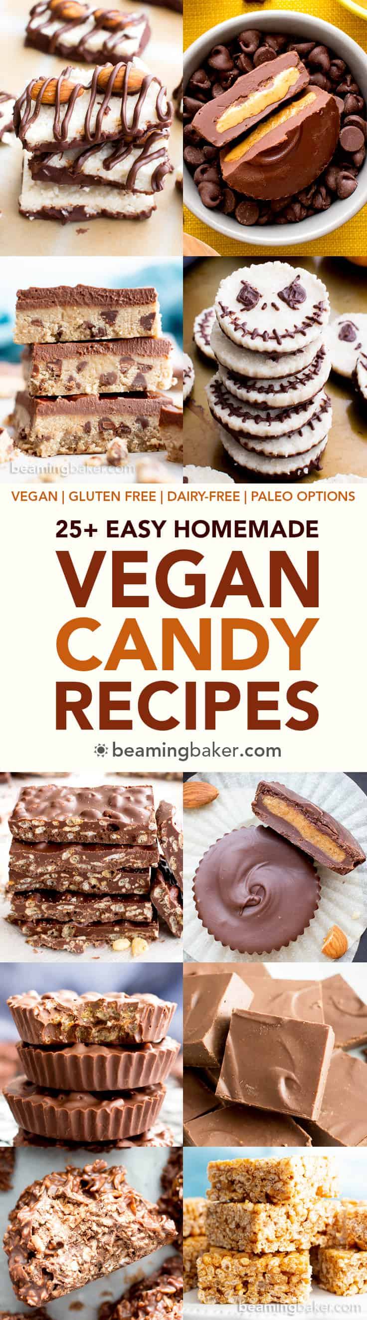 25+ Easy Homemade Vegan Candy Recipes (V, GF): a deliciously sweet collection of the best easy homemade vegan gluten free candy recipes! Chocolate bars, peanut butter cups, Almond Joys and more! #Vegan #GlutenFree #DairyFree #Paleo #Chocolate #Candy #Homemade #Halloween | Recipes on BeamingBaker.com