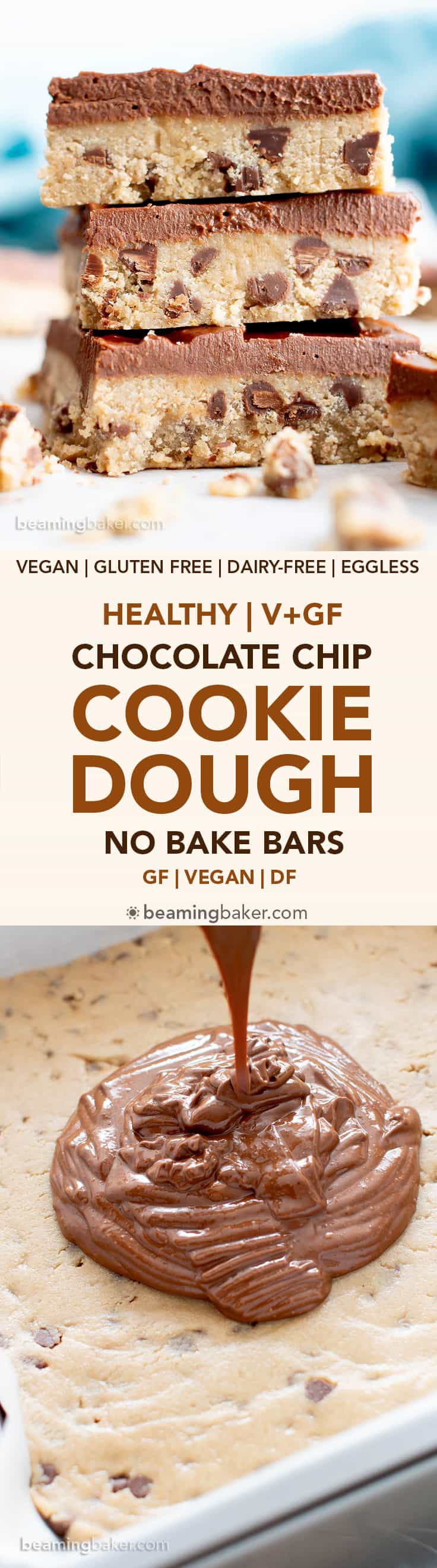 Healthy Gluten Free Cookie Dough Bars (V, GF): an easy, no bake recipe for decadent edible cookie dough bars coated in a thick layer of mouthwatering chocolate topping. Made with healthy, whole ingredients. #Vegan #GlutenFree #CookieDough #HealthyDesserts #NoBake #GlutenFreeVegan #BeamingBaker   Recipe at BeamingBaker.com