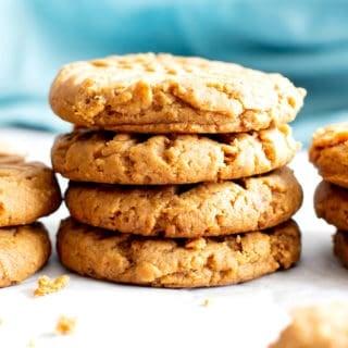 4 Ingredient Gluten Free Soft Peanut Butter Cookies (Healthy, Vegan, GF, Oil-Free, Refined Sugar-Free)