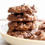 Vegan Double Chocolate Chip Chewy Oatmeal Cookies Recipe (V, GF): an easy recipe for chewy, dense chocolate chocolate oatmeal cookies made with cocoa powder and bursting with chocolate flavor and wholesome oats. Made with healthy, whole ingredients. #OatmealCookies #Vegan #GlutenFree #VeganGlutenFree #VeganBaking #BeamingBaker | Recipe at BeamingBaker.com