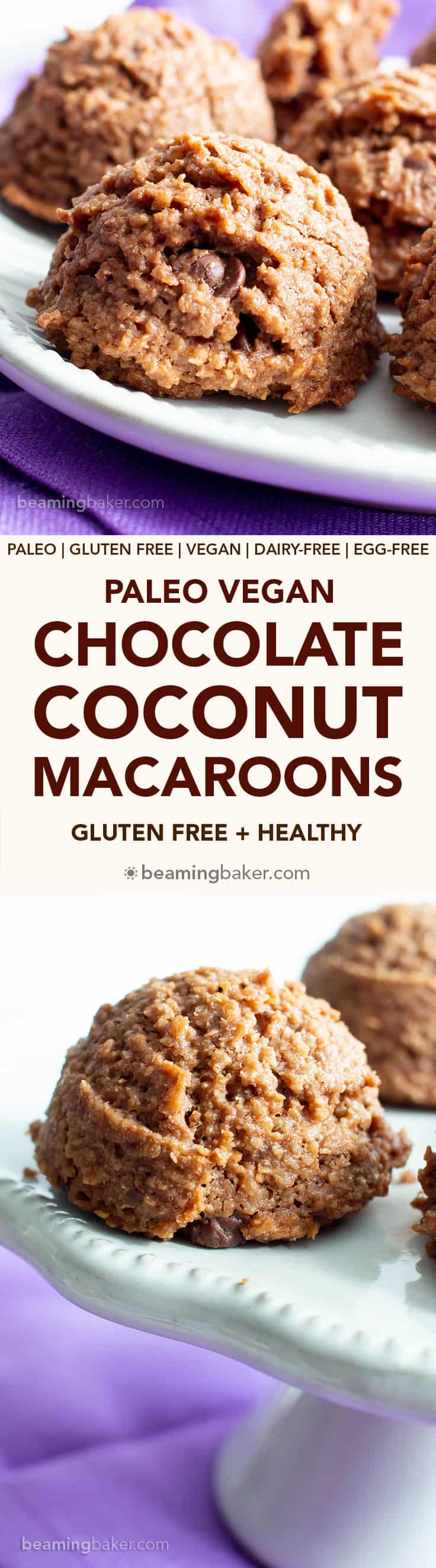Paleo Chocolate Coconut Macaroons Recipe (V, GF): an easy recipe for deliciously chewy chocolate macaroon cookies bursting with 2x the amount of chocolate! Made with healthy, whole ingredients. #Paleo #Vegan #GlutenFree #Coconut #Macaroons #PaleoDesserts #CleanEating | Recipe at BeamingBaker.com