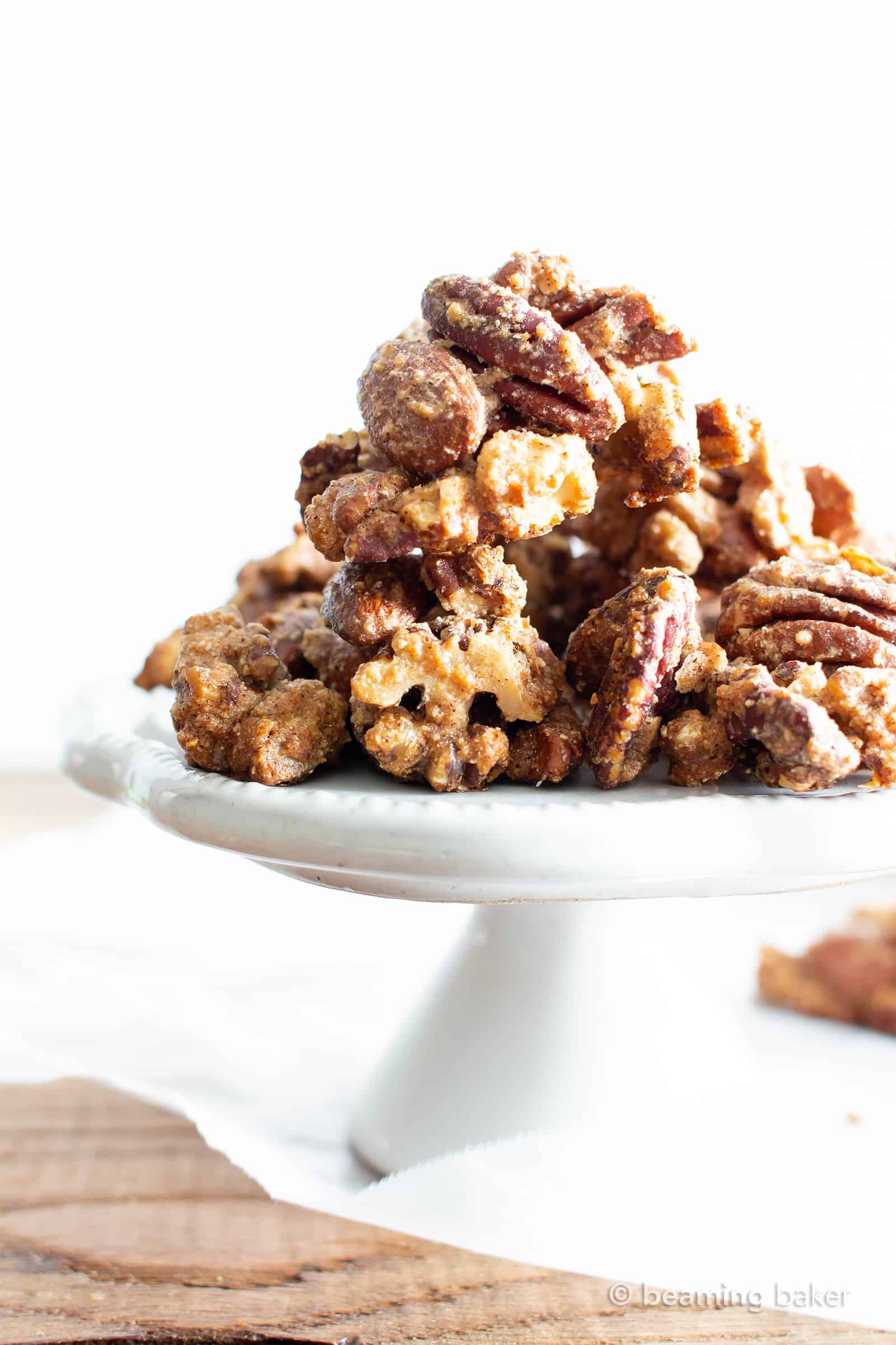 Sweet 'n Salty Nut Clusters Recipe (V, GF): an easy recipe for crunchy nut clusters, lightly glazed and bursting with salty 'n sweet flavors. Made with healthy ingredients. #ProteinRich #Nuts #VeganSnacks #Christmas #Fall #DairyFree #GlutenFree #Vegan | Recipe at BeamingBaker.com