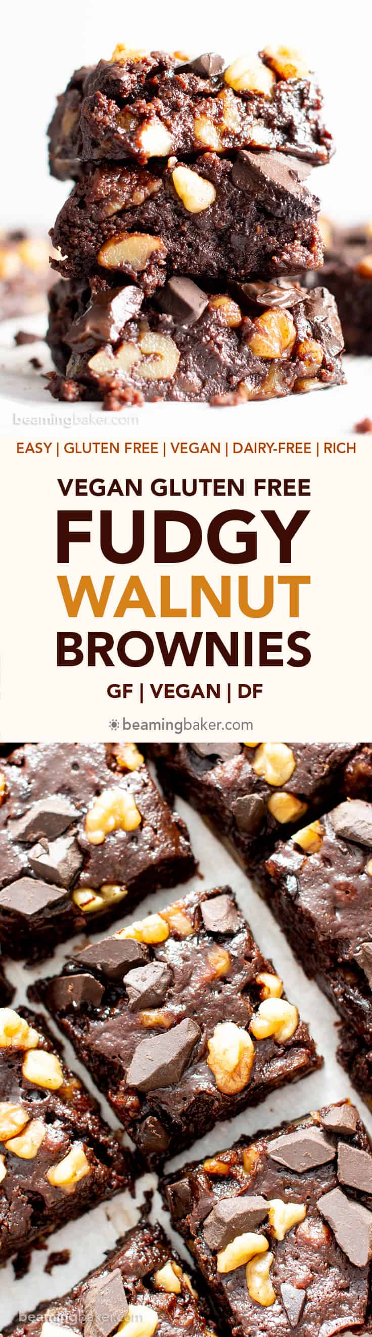 Vegan Gluten Free Fudgy Walnut Brownies Recipe (V, GF): a 1-bowl recipe for super fudgy, rich, dark brownies packed with walnuts and chocolate chunks. Made with healthy, whole ingredients. #Vegan #GlutenFree #GlutenFreeVegan #Brownies #VeganBrownies #DairyFree #BeamingBaker | Recipe at BeamingBaker.com