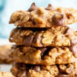 Chewy Healthy Oatmeal Chocolate Chip Cookies (V, GF): my favorite easy recipe for chewy oatmeal chocolate chip cookies with mouthwatering crispy edges, bursting with chocolate morsels! Made with healthy ingredients. #OatmealCookies #Vegan #GlutenFree #DairyFree #HealthyBaking #GlutenFreeVegan #BeamingBaker | Recipe at BeamingBaker.com