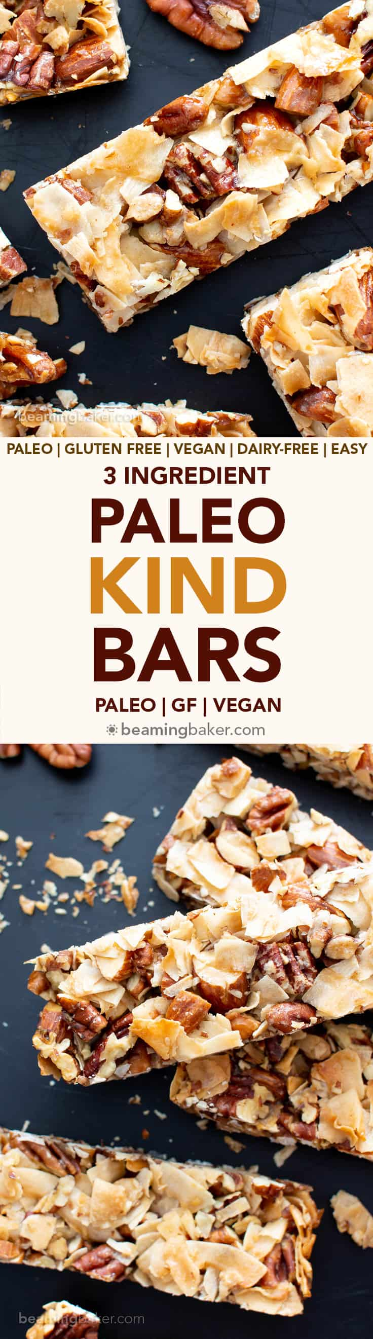 3 Ingredient Paleo KIND Bar Recipe (V, GF): this vegan paleo homemade kind bar recipe is so easy with 3 ingredients! It's the best way to learn how to make diy copycat kind bars – easy, healthy, and prep'd in 5 minutes! #KindBars #Healthy #Vegan #Paleo | Recipe at BeamingBaker.com