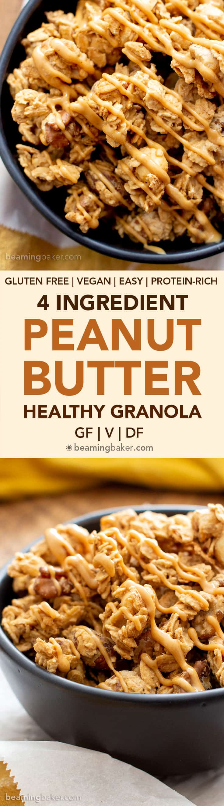 4 Ingredient Healthy Peanut Butter Granola Recipe (V, GF): this homemade peanut butter granola recipe is so easy & healthy! It's crunchy with big clusters, salty, sweet and vegan, gluten-free, protein-rich! #Vegan #GlutenFree #PeanutButter #Granola | Recipe at BeamingBaker.com