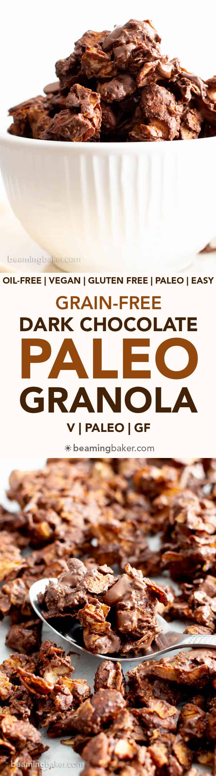 Dark Chocolate Paleo Grain Free Granola Recipe (V, GF): an easy recipe for the best homemade grain free granola with chunky clusters, and bursting with rich dark chocolate! #PaleoVegan #PaleoSnacks #HealthySnacks #BeamingBaker #HomemadeGranola #GlutenFreeVegan #DairyFree | Recipe at BeamingBaker.com