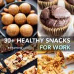 30+ Healthy Snacks for Work (V, GF): my favorite healthy snack ideas that are vegan, gluten-free, protein-packed! These quick 'n easy recipes are perfect for bringing to work, and make for great healthy snack options! #Healthy #Vegan #GlutenFree #Cookies #Paleo | Recipes at BeamingBaker.com