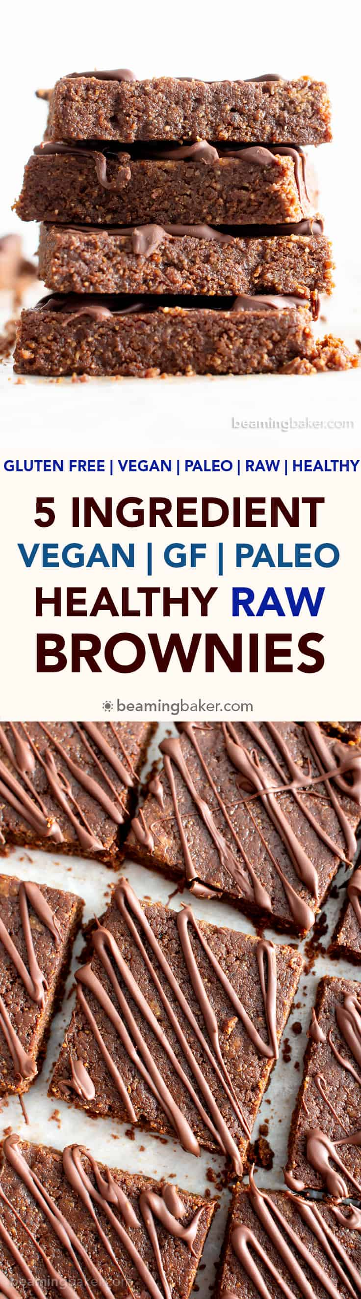 5 Ingredient Raw Vegan Brownies (No Bake, GF): this no bake healthy raw brownies recipe is so easy to make! It's the best raw brownie – gluten-free, no added sugar, and deliciously unbaked! #Brownies #NoBake #Vegan #Raw | Recipe at BeamingBaker.com