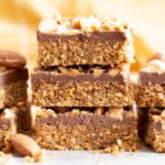 4 Ingredient No Bake Paleo Chocolate Almond Bars (V, GF): this paleo no bake chocolate almond bars recipe is so easy with just 4 ingredients! It's the best no bake date nut bars recipe – healthy, vegan & gluten-free! #NoBake #Vegan #Paleo #Chocolate | Recipe at BeamingBaker.com