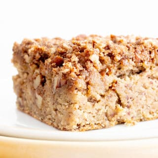 Vegan Gluten Free Banana Bread Coffee Cake Recipe (V, GF): this moist 'n healthy vegan banana coffee cake recipe is easy & gluten free, with streusel topping! #Vegan #Banana #CoffeeCake #GlutenFree #Healthy | Recipe at BeamingBaker.com