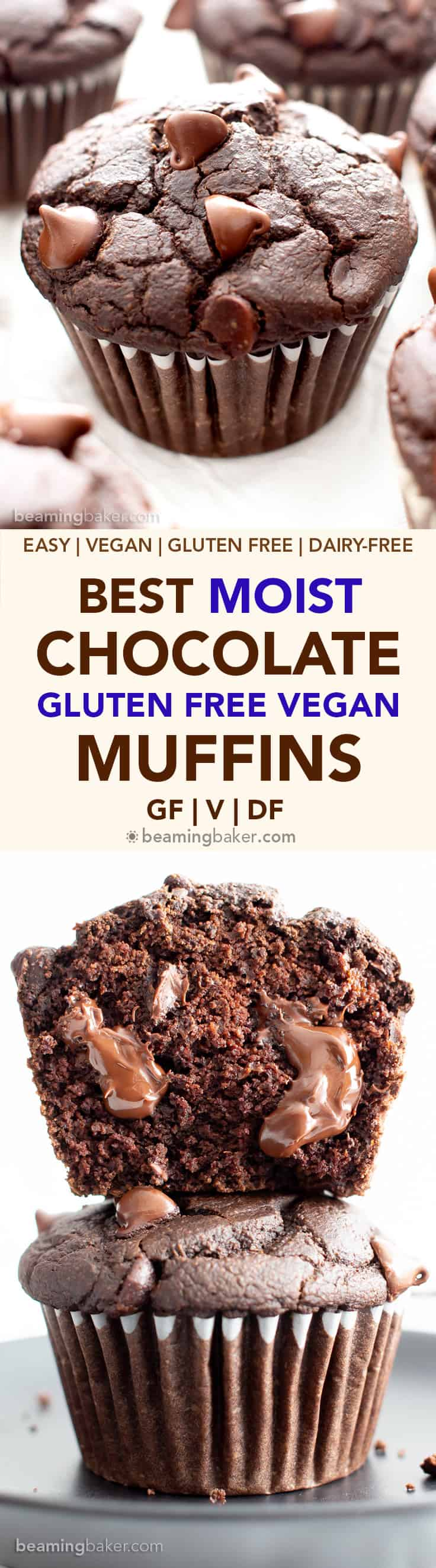 Best Vegan Gluten Free Moist Chocolate Muffins (V, GF): this easy moist gluten free double chocolate muffins recipe is incredible! It's the best vegan chocolate muffins recipe—egg free, healthy ingredients! #Chocolate #Vegan #GlutenFree #Muffins #Healthy | Recipe at BeamingBaker.com