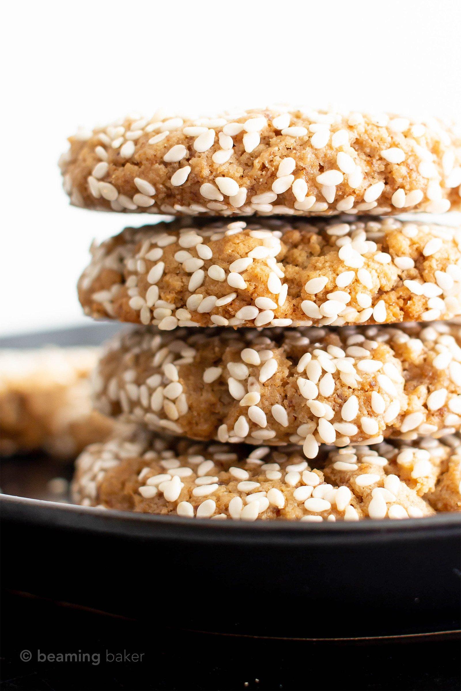 Vegan Sesame Tahini Cookies (Gluten Free): just 7 ingredients for the best vegan tahini cookies—buttery-rich, crisp sesame coating, tender on the inside. Delicious sesame tahini cookies that are gluten free! #Vegan #Sesame #Tahini #GlutenFree #Cookies | Recipe at BeamingBaker.com