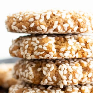 Vegan Sesame Tahini Cookies (Gluten Free): just 7 ingredients for the best vegan tahini cookies—buttery-rich, crisp sesame coating, tender on the inside. Delicious sesame tahini cookies that are gluten free! #Vegan #Sesame #Tahini #GlutenFree #Cookies | Recipe at BeamingBaker.com