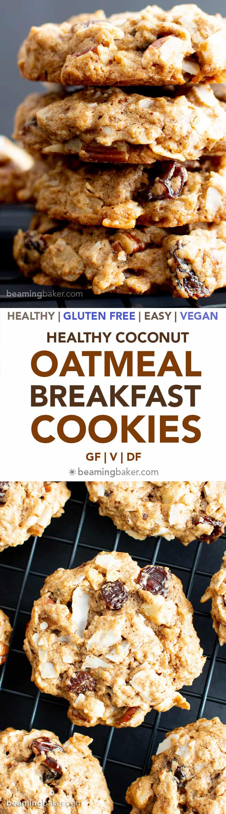 Healthy Coconut Oatmeal Breakfast Cookies (V, GF): this easy breakfast cookies recipe is chewy & crispy! It's the best healthy homemade breakfast cookies—vegan, gluten-free, dairy-free! #Breakfast #Vegan #GlutenFree #DairyFree #Cookies | Recipe at BeamingBaker.com