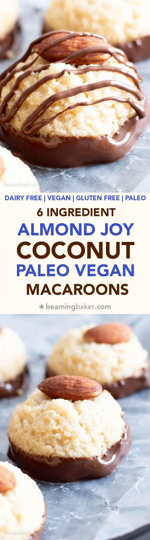 Vegan Almond Joy Coconut Macaroons Recipe (GF, Paleo): how to make vegan coconut macaroons that taste like Almond Joy! This paleo vegan coconut macaroons recipe is gluten Free, vegan & made with 6 ingredients! #Paleo #Vegan #DairyFree #GlutenFree #Macaroons #AlmondJoy   Recipe at BeamingBaker.com