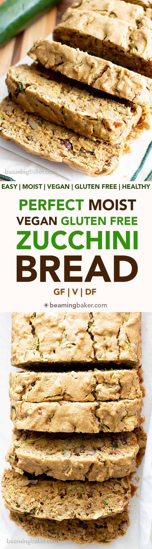 Moist Vegan Gluten Free Zucchini Bread Recipe (GF): Learn how to make the best vegan zucchini bread! This easy healthy vegan zucchini bread is moist 'n rich & perfect for summer! Dairy-Free. #Vegan #GlutenFree #Zucchini #Bread #DairyFree   Recipe at BeamingBaker.com
