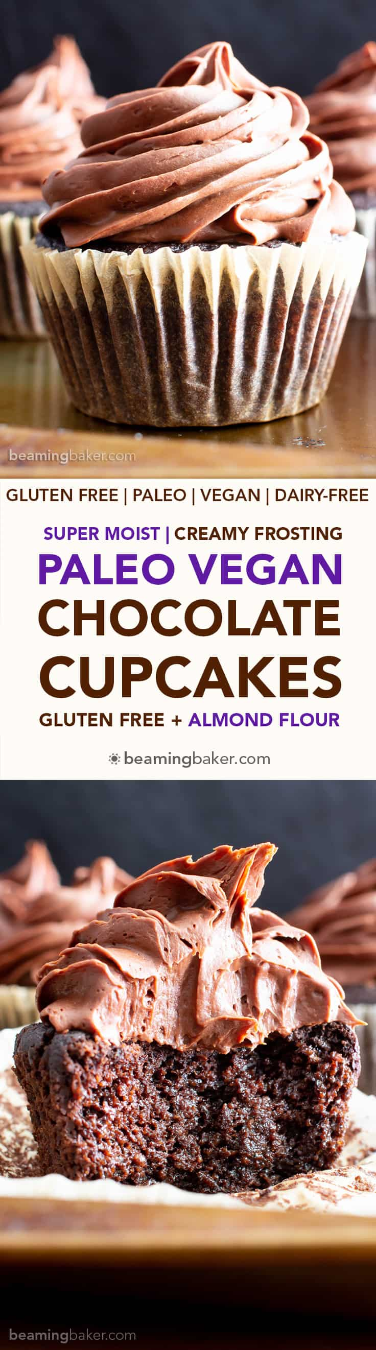 Paleo Chocolate Cupcakes Recipe (Almond Flour, GF): rich 'n moist vegan gluten free cupcakes topped with creamy chocolate frosting! The best paleo cupcakes—made with gluten free, dairy free, healthy ingredients! #Vegan #Paleo #Cupcakes #GlutenFree #DairyFree | Recipe at BeamingBaker.com