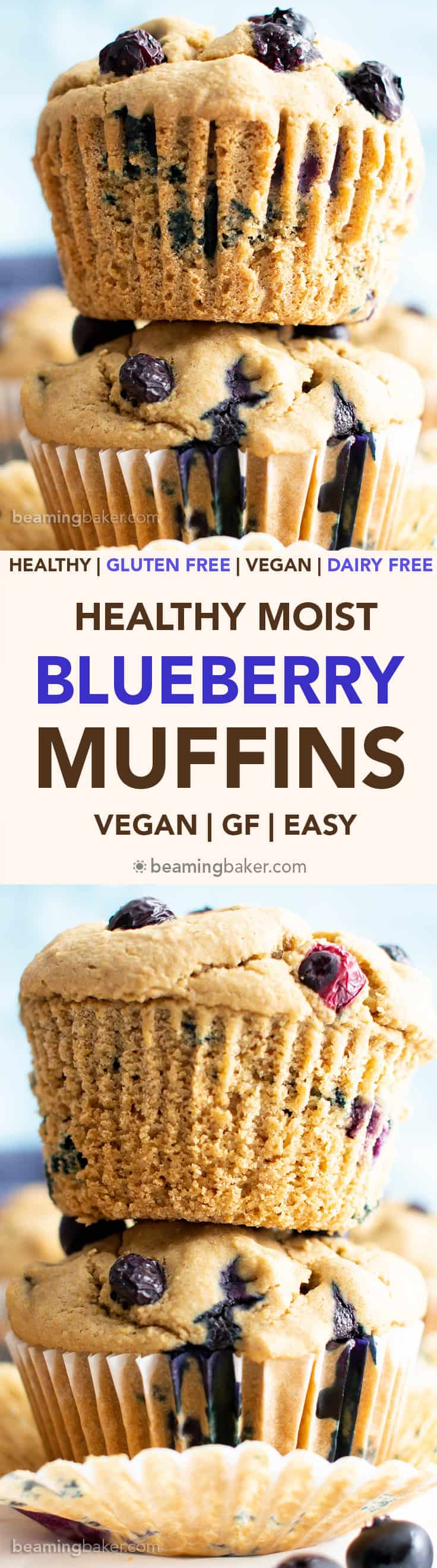 Healthy Moist Blueberry Muffins Recipe (V, GF): this gluten free vegan blueberry muffins recipe is quick 'n healthy! It's the best healthy moist blueberry muffins recipe from scratch! #Vegan #GlutenFree #Muffins #Blueberry #Healthy | Recipe at BeamingBaker.com
