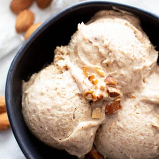 4 Ingredient Paleo Almond Butter Ice Cream (Vegan, Keto): creamy, luscious almond butter vegan ice cream in 5 minutes—no churn, easy! This keto ice cream recipe is silky smooth, dairy-free, made without an ice cream maker. #Paleo #Keto #Vegan #IceCream #AlmondButter #DairyFree | Recipe at BeamingBaker.com
