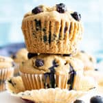 Healthy Vegan Gluten Free Blueberry Muffins: my favorite vegan gluten free blueberry muffins are easy 'n moist! The best healthy blueberry muffin recipe—made with oat flour and healthy ingredients! #Healthy #Muffins #Vegan #GlutenFree #Blueberry | Recipe at BeamingBaker.com