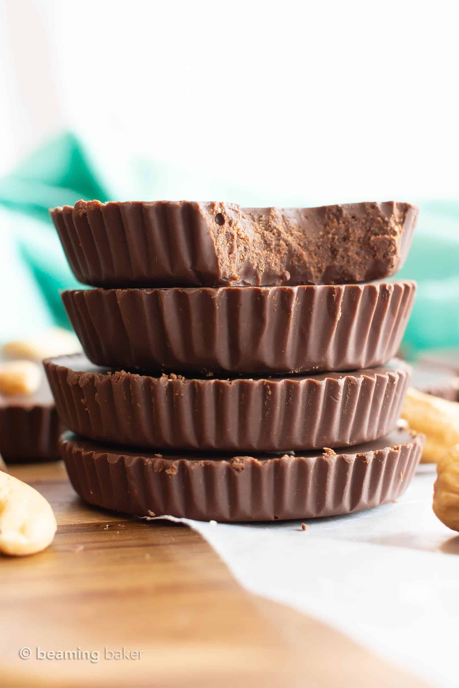 Low Carb Chocolate Fudge Cups Recipe: easy keto chocolate fudge cups made with cashew butter! The best Keto fudge recipe—low carb fudge cups bursting with rich chocolate flavor. #LowCarb #Keto #SugarFree #DairyFree | Recipe at BeamingBaker.com