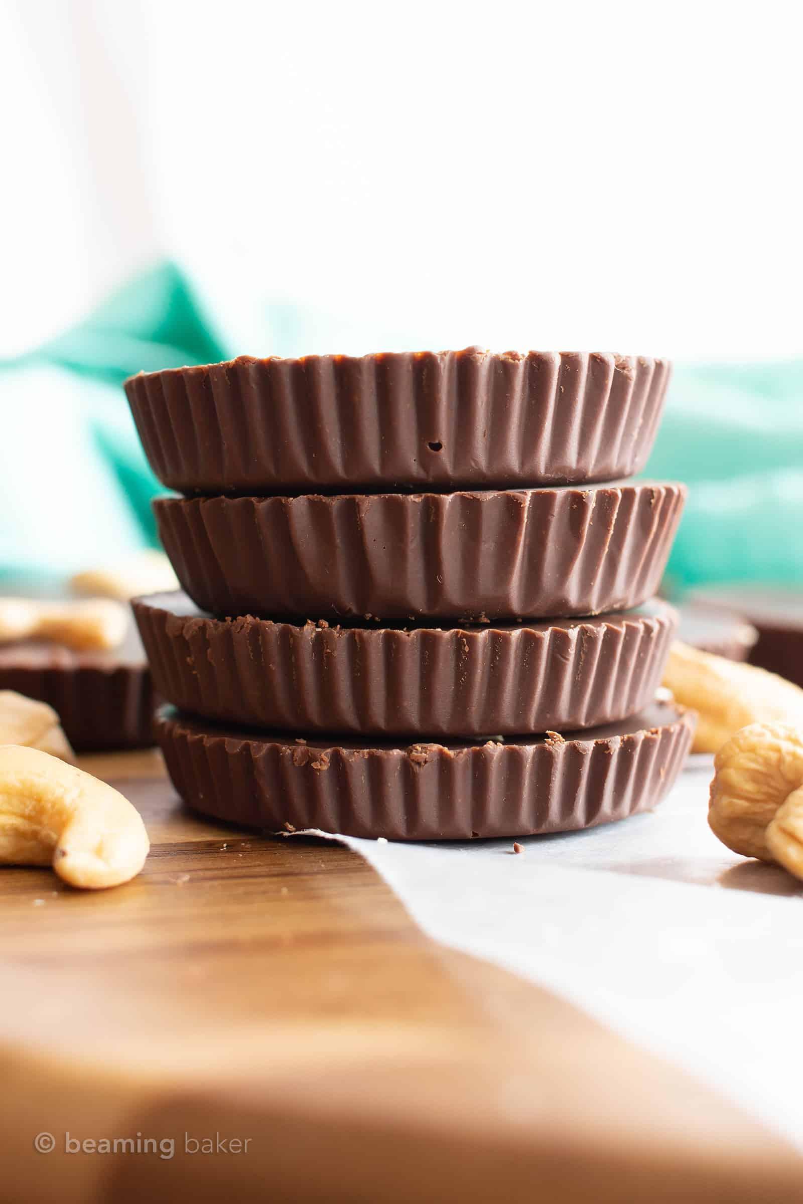 Low Carb Chocolate Fudge Cups Recipe: easy keto chocolate fudge cups made with cashew butter! The best Keto fudge recipe—low carb fudge cups bursting with rich chocolate flavor. #LowCarb #Keto #SugarFree #DairyFree   Recipe at BeamingBaker.com