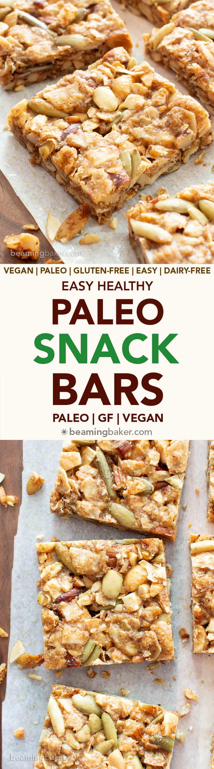 Paleo Snack Bars Recipe (GF, V): super EASY paleo approved snack bars, packed with nuts & seeds! The ultimate paleo diet snack bars—chewy, filling, gluten free, vegan & healthy! #Paleo #Snacks #GlutenFree #Vegan | Recipe at BeamingBaker.com