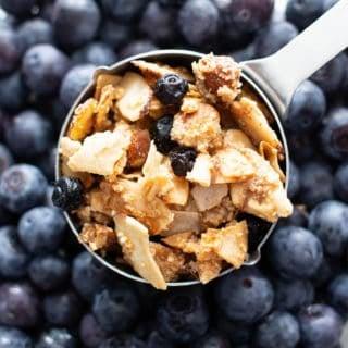 Paleo Vegan Granola (V, GF): a 5 ingredient recipe for sunny blueberry almond granola—crispy, crunchy clusters bursting with almonds & blueberries. The best healthy vegan breakfast recipe! #Vegan #Paleo #Granola #GlutenFree | Recipe at BeamingBaker.com