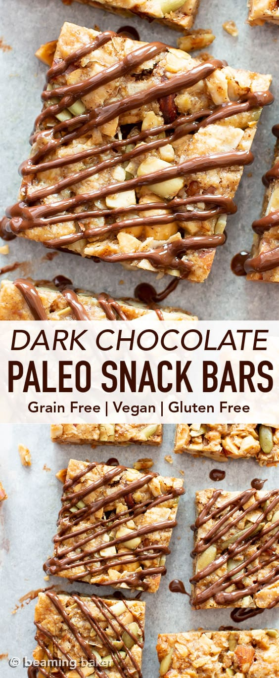 Dark Chocolate Paleo Snack Bars (GF): this chocolate-drizzled vegan snack bars recipe is chewy & satisfying! The best gluten free snack bars—grain-free, refined sugar-free & healthy! #SnackBars #GlutenFree #Paleo #Vegan #Healthy | Recipe at BeamingBaker.com