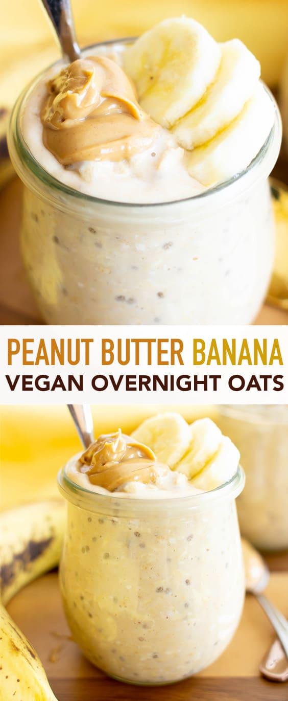 Easy Peanut Butter Banana Overnight Oats Recipe (Vegan): a quick recipe for vegan overnight oats with banana & peanut butter! Healthy, gluten free & delicious. #OvernightOats #PeanutButter #Banana #Vegan | Recipe at BeamingBaker.com