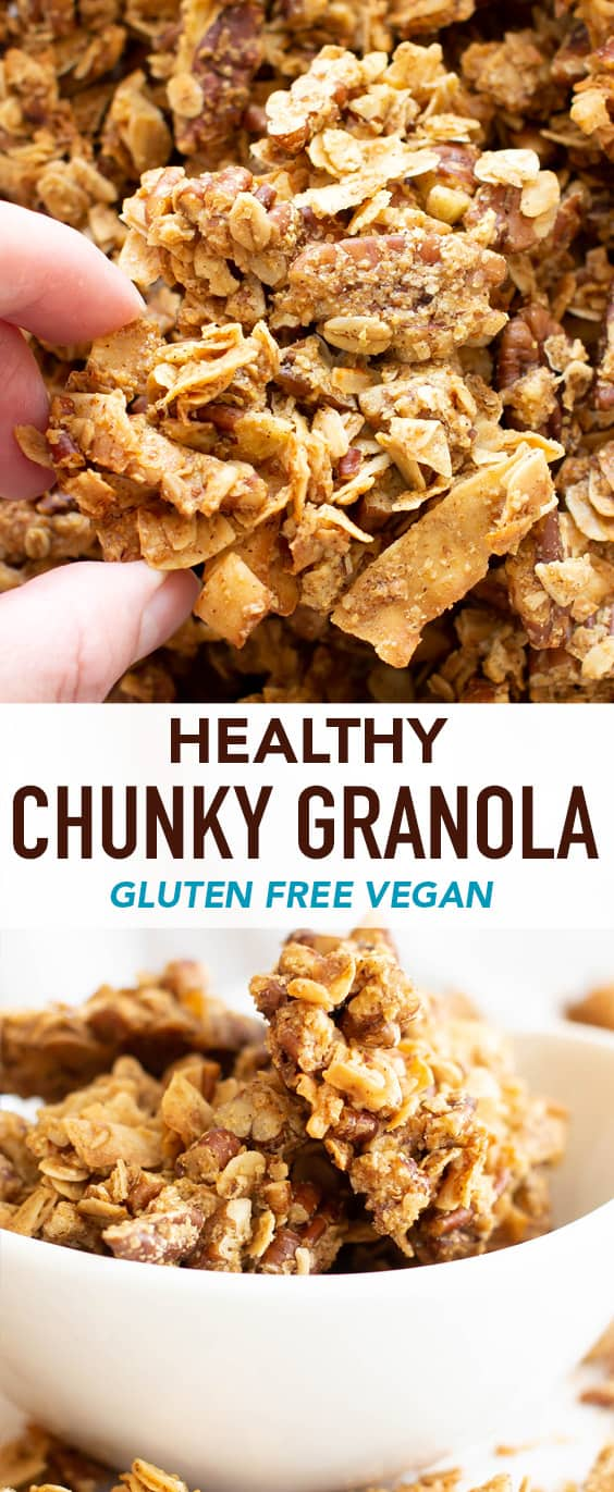 Healthy Chunky Granola Recipe (GF): learn how to make chunky granola with clusters! The best homemade chunky granola—vegan, gluten free & yummy! Super CHUNKY clusters with crispy edges, packed full of nuts & nutrients! #Granola #Vegan #GlutenFree #Healthy | Recipe at BeamingBaker.com
