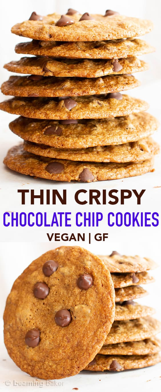 Thin Crispy Vegan Chocolate Chip Cookies (GF): Deliciously thin vegan chocolate chip cookies with crunchy, crispy edges and a buttery, chewy center. The BEST vegan gluten free chocolate chip cookies! #Vegan #GlutenFree #Chocolate #Cookies #DairyFree | Recipe at BeamingBaker.com