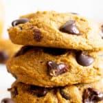 Gluten Free Pumpkin Cookies (Vegan): soft 'n fluffy gluten free pumpkin cookies bursting with chocolate chips! An easy recipe for moist, cake-like vegan gluten free pumpkin cookies with warm fall spices. #GlutenFree #Pumpkin #Cookies #Vegan | Recipe at BeamingBaker.com