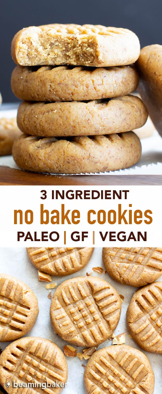 3 Ingredient Almond Butter Paleo No Bake Cookies (GF): learn how to make easy no bake cookies paleo, vegan & gluten free! Soft, sweet & satisfying. Protein-Rich! Refined Sugar-Free. #NoBake #Cookies #Paleo #GlutenFree #Vegan | Recipe at BeamingBaker.com