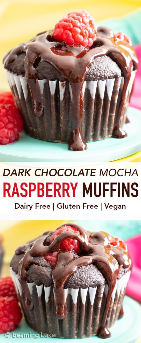 Vegan Dark Chocolate Raspberry Mocha Muffins (GF): decadent, rich, dark chocolate vegan muffins packed with juicy, fresh raspberries, gooey chocolate chips & a coffee kick! #Vegan #Muffins #GlutenFree #Raspberries #DairyFree | Recipe at BeamingBaker.com