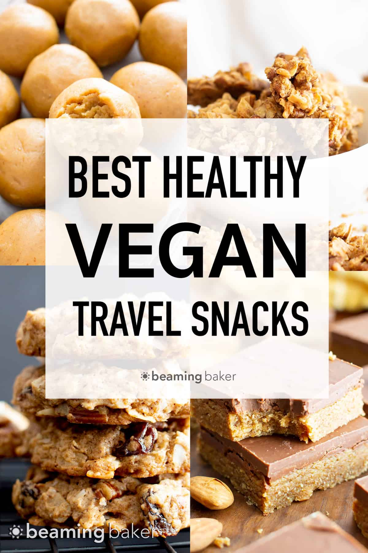 The best vegan snacks for traveling, including make-ahead no bake snacks, healthy homemade cookies, the best fruits and more vegan travel snacks! #travel #traveltips #travelhacks #travelsnacks #vegan | Post on BeamingBaker.com
