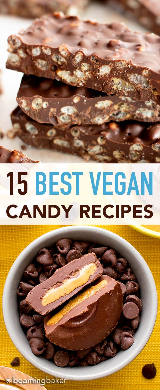 The Best Vegan Candy and Chocolate Recipes (GF): satisfy your sweet tooth with these irresistible homemade vegan candy recipes! The best vegan chocolate candy—gluten-free and healthy! #Vegan #GlutenFree #Candy #Chocolate   Recipes at BeamingBaker.com
