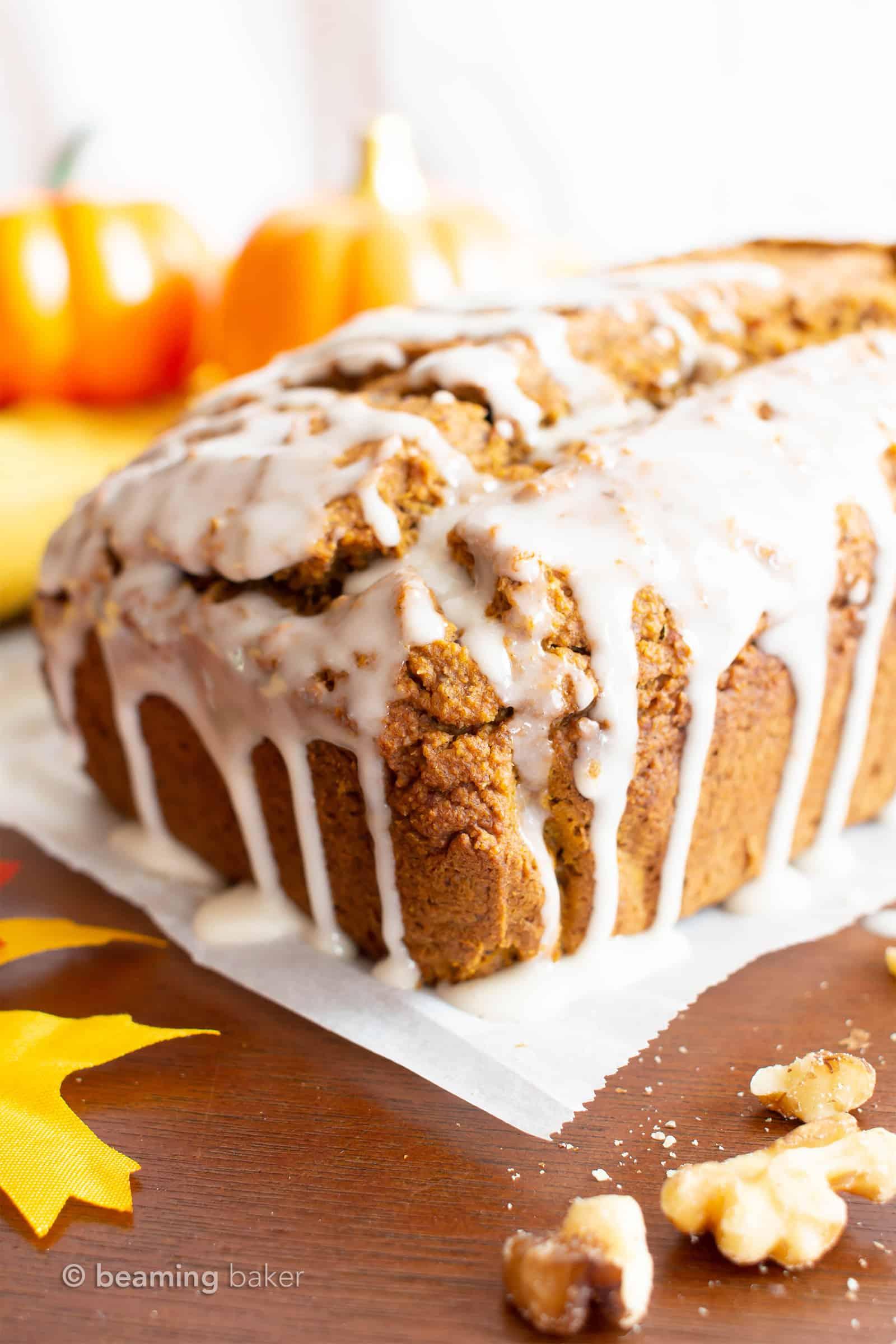 Glazed Vegan Gluten Free Pumpkin Bread Recipe Beaming Baker