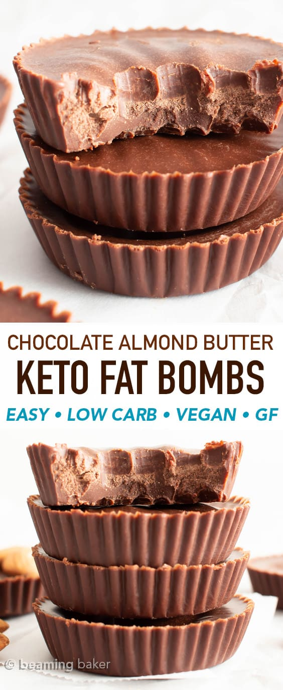 Chocolate Almond Butter Keto Fat Bombs: this super easy keto fat bombs recipe needs only 4 ingredients! Make the best keto fat bombs—decadent, rich & chocolatey. Low Carb, Vegan. #Keto #LowCarb #FatBombs #Chocolate | Recipe at BeamingBaker.com