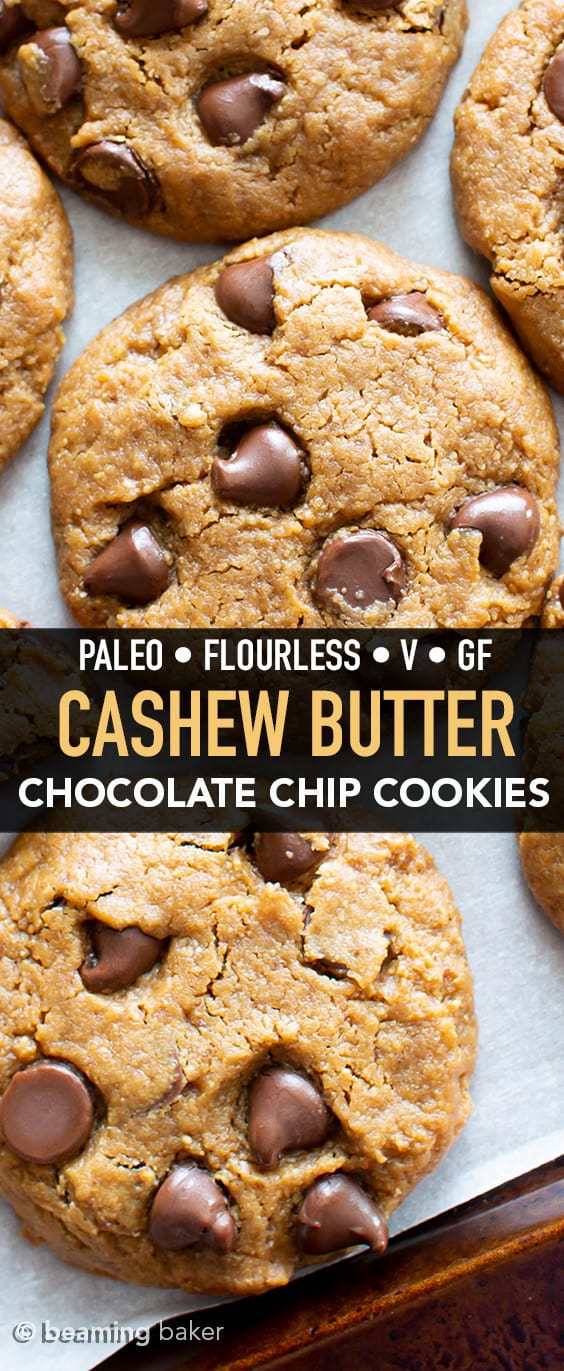 Homemade Cashew Butter Cookies Recipe: easy, melt-in-your-mouth vegan cashew butter cookies made flourless! The BEST Paleo cashew butter cookies—crispy edges, chewy & soft centers, bursting with chocolate. #CashewButter #Paleo #Flourless #Vegan #Cookies | Recipe at BeamingBaker.com
