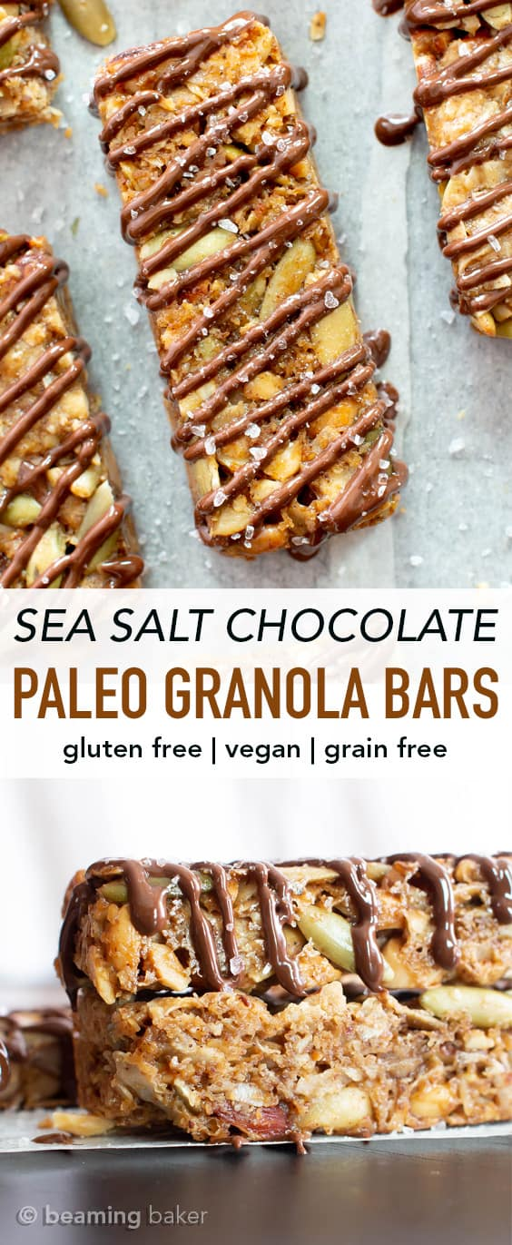 Sea Salt Chocolate Paleo Granola Bars Recipe (GF): this grain free granola bars recipe is easy & delicious! The BEST salty & sweet gluten free granola bars—super nutty, drizzled with chocolate & topped with sea salt. #Paleo #GrainFree #GlutenFree #Vegan #GranolaBars | Recipe at BeamingBaker.com