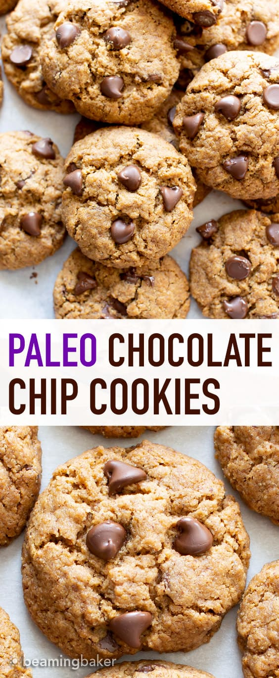 Vegan Paleo Chocolate Chip Cookies Recipe: the BEST paleo chocolate chip cookies made with coconut flour. Think: chewy exterior, soft interior, bursting with melty chocolate goodness! Meet your favorite gluten free chocolate chip cookies. #Paleo #Chocolate #Cookies #Vegan #GrainFree | Recipe at BeamingBaker.com