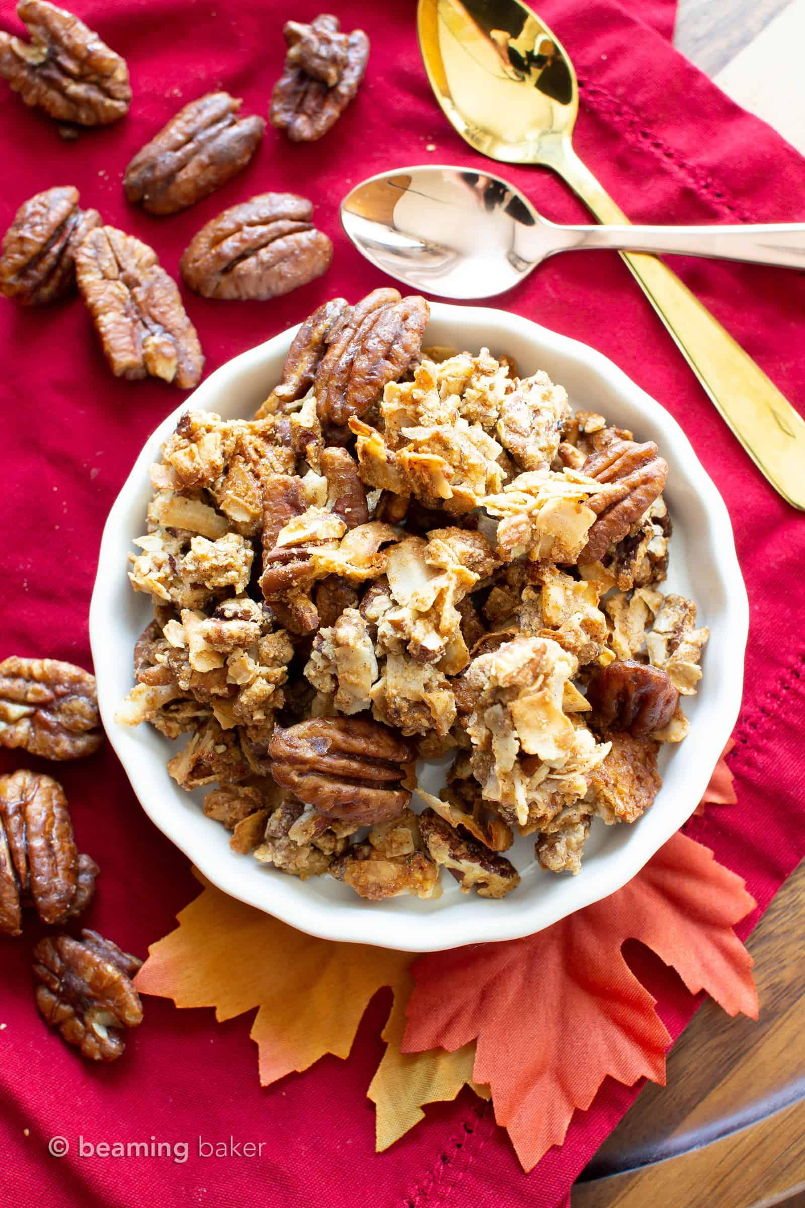 Homemade Maple Pecan Granola (GF, V): the best paleo granola recipe for fall! Crispy, crunchy clusters & maple granola pecan pie flavors—Vegan, Gluten-Free, Healthy! #Paleo #Granola #Vegan #GlutenFree | Recipe at BeamingBaker.com
