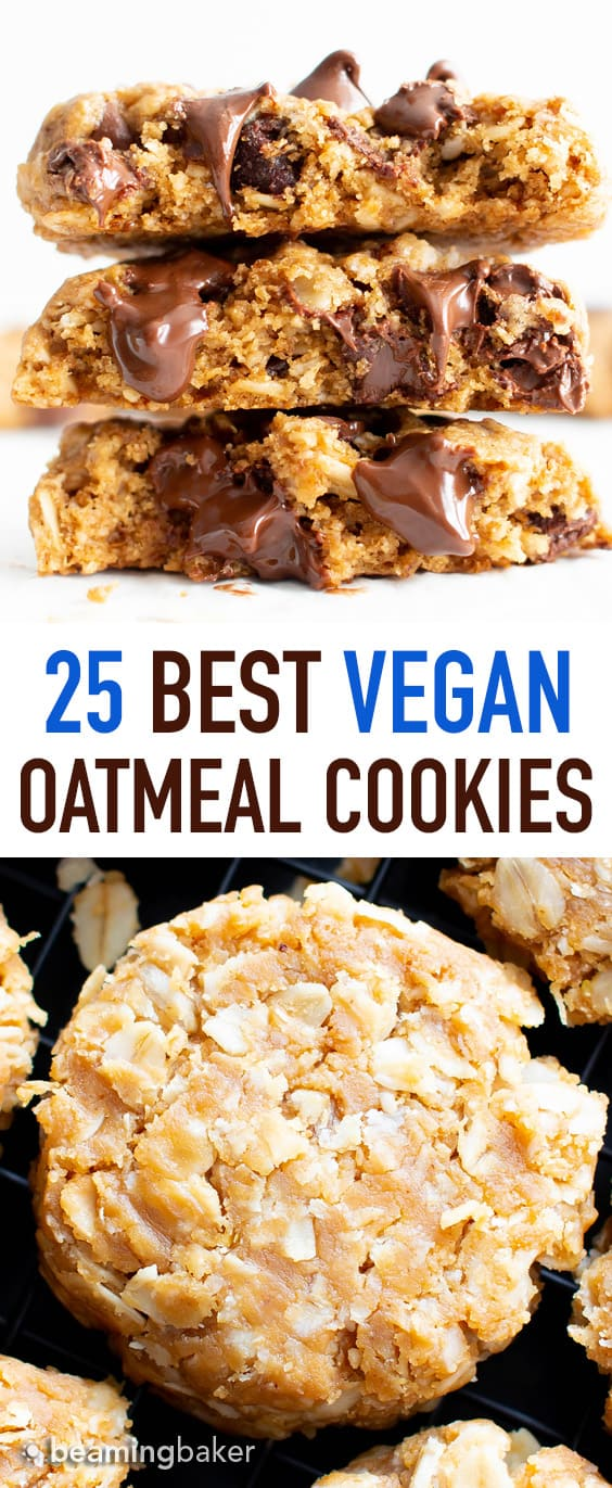 The Best Vegan Oatmeal Cookie Recipes (GF): the ultimate collection of healthy oatmeal cookies! Including all your favorites, like gluten free vegan oatmeal chocolate chip cookies, classic vegan oatmeal raisin cookies, no bake peanut butter oatmeal cookies, and more! #Vegan #GlutenFree #Cookies #DairyFree | Recipes on BeamingBaker.com