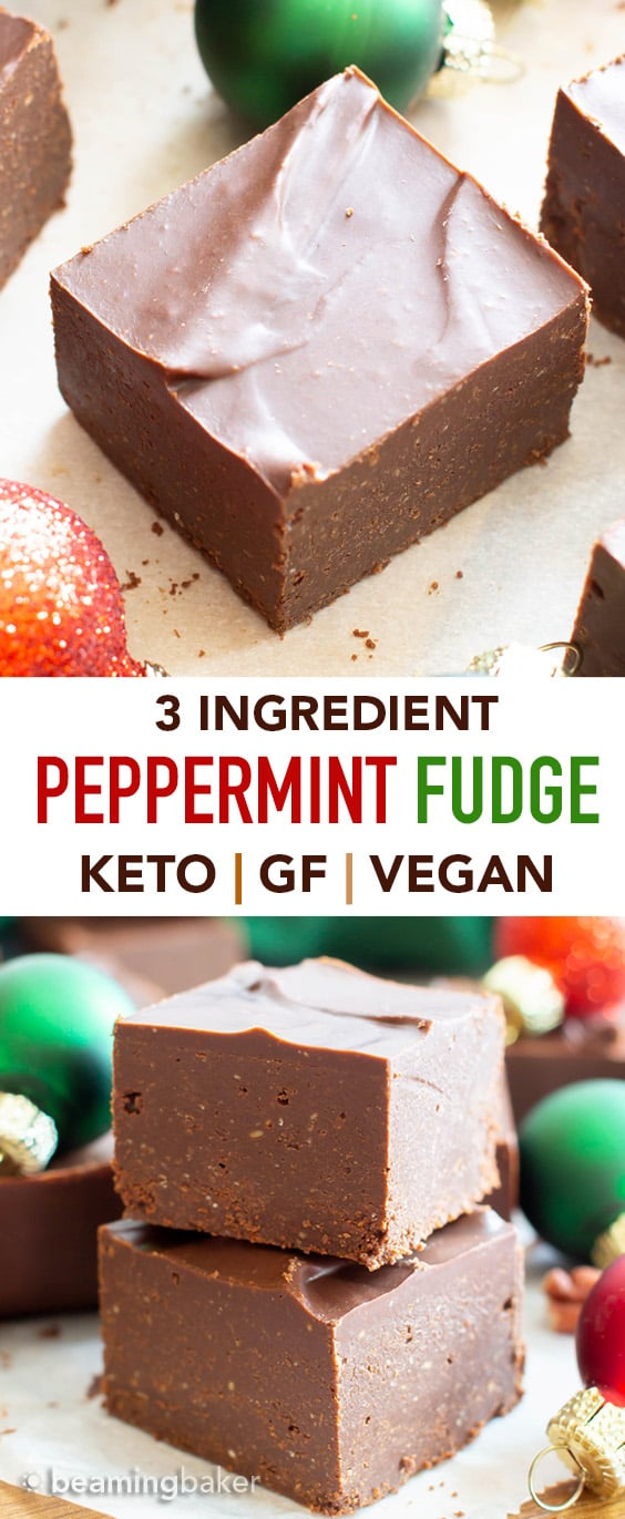 3 Ingredient Low Carb Peppermint Chocolate Fudge: this super easy keto chocolate fudge recipe is perfect for the holidays! Cool, minty & indulgent—the best keto peppermint fudge: Sugar Free, Low Carb, Vegan. #Keto #LowCarb #Fudge #Christmas #SugarFree | Recipe at BeamingBaker.com